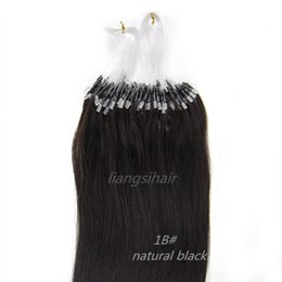 Wholesale Micro Hair Extensions 1b - Factory wholesale new 20inch 50g 0.5g s 100s 1B# natural black Micro Ring Hair Extensions Long Straight Brazilian virgin Human Hair 6A
