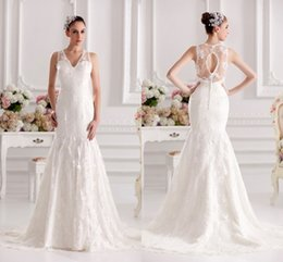 Wholesale Empire Waist Organza Dress - Free shipping Custom made Applique Slim line lace Ivory beading empire waist wedding dress Bride gown