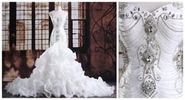 Wholesale Noble Models - Noble Organza Wedding Dresses Trumpet Sleeveless Train Crystal Beading Ruffle Tier Mermaid vestido de novia Stunning Ball Bridal Custom Made