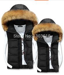 Wholesale Down Vest Fur Collar - Fall-New men's Hooded Fur collar vest Real down vest winter Warm Outwear waistcoat