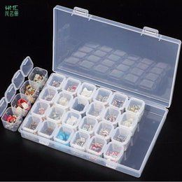 Wholesale Organizer Storage Beads - 28 Slots Diamond Embroidery Box Diamond Painting Accessory Case clear plastic Beads Display Storage Boxes Organizer Holder