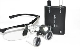 Wholesale Dental Lamps - 3.5X420mm! Black color Dental Medical Binocular Loupes Optical Glass Loupe+LED Head Light Lamp Free shipping