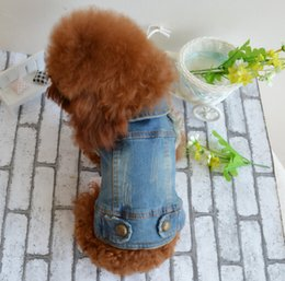 Wholesale Denim Thanksgiving Shirt - New Fashion Pet Puppy Cat Denim Vest Personalized Dog Clothes Summer False two Dog Clothing for Chihuahua free shipping
