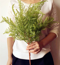 Wholesale display felt - Real Touch Feeling Fern leaf Bunch 45cm 17.72Length Artificial Flowers Greenery Evergreen Plant for Wedding Centerpieces Decorative Greenery