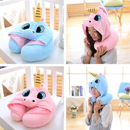 Wholesale Office Massages - 2 Color 30*23cm U Shaped Pillow With Cap Cartoon Massage Pillow Travelling Pillows Office household sleeping pillow IA1003