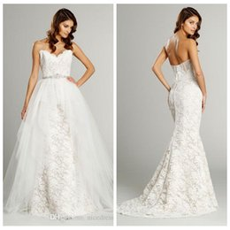Wholesale Tow Pieces - 2015 Fall Alvina Valenta Wedding Dresses Strapless Necklace Tulle and Lace Traumpet Bridal Gowns Removable Tulle Skirt Tow Pieces