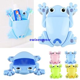 Wholesale Suction Wall Hangers - Cute Frog Toothbrush Holder Wall Suction Cartoon Toothbrush case Organizer Hanger Sucker Hook bathroom sets accessories