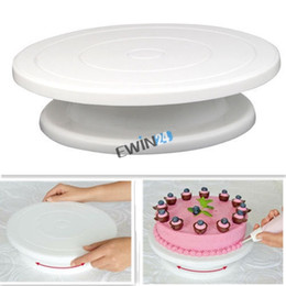 Wholesale Cake Rotating Stand - 28cm Kitchen Cake Decorating Icing Rotating Turntable Cake Stand White Plastic Cakes Turntables Eco-friendly home party use