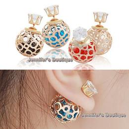 Wholesale Earrings Brands - Brand New Korean Double Pearl Earrings, 8mm CZ Zircon Studs 16mm Crystal Ball Earrings Hallow Ball Crystal Ball Double Sided Pearl Earrings