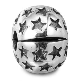 Wholesale Fusing Silver - 100% 925 Sterling Silver Beads Fit Pandora Charms Bracelet DIY Brand Fashion Jewelry Stardom Clip Beads