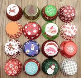 Wholesale Merry Christmas Baking - Merry Christmas colorful high temperature baking greaseproof paper cup muffin cupcakes cup wrappers 100pc lot, Christmas decorations