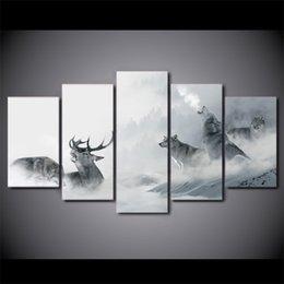 Gruppi di arte del gruppo online-5 Pz / set Incorniciato HD Stampato Bianco Howling Wolf Group Cervo Parete Tela Stampa Poster Asian Modern Art Dipinti Ad Olio Immagini
