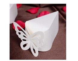 Wholesale Triangle Box Christmas - 50Pcs Lot Candy Box Ivory Color Wedding Party Favor Holders Butterfly Favor Gift Candy Boxes 2016 Spring Style