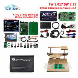 Wholesale Kess Programmer - 100% No Token Limit Online Master KTAG 7.020+ Kess V5.017 V2.23 Kess V2 OBD2 Manager Tuning Kit+LED BDM Frame ECU Programmer