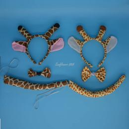 Wholesale Giraffe Horns - 2017 New Giraffe Animal Ear Horn Headband Bow Tie Tail Coslay Performance Props Kids Adult Halloween Birthday Party Favors Gift