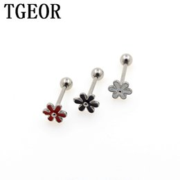 Wholesale Flower Tongue Ring - New Hot Wholesale 20pcs Mixed Colors Tongue Barbell Stainless Steel Flower Drop Oil Piercing Tongue Ring Free Shipping