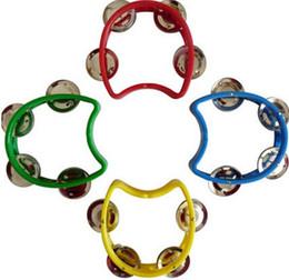 Wholesale Tambourine Rattle - Mini Plastic Tambourine with 4 Jingles Grip Rattles Baby Kids Enlightenment Toys 10CM