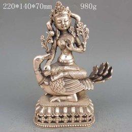 Wholesale Bronze Goose - Tibet Silver Copper Tibetan Buddhism Statue -- 4 Arm Tara Buddha & Goose