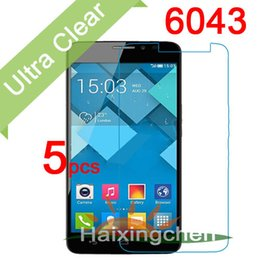 Wholesale One X Screen Guard - Wholesale-Ultra Clear LCD Screen Protector Guard Cover For Alcatel One Touch Idol X+ 6043 Protective Film (5pcs film + 5pcs cloth)