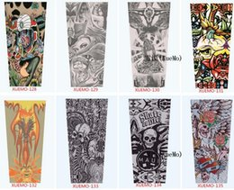 Wholesale Tattoo Sleeve Anti Uv - Mixed 100% Nylon Elastic Fake Temporary Tattoo Sleeves Designs Anti UV Arm Stockings Tattoo Wears Fishing Driving Sleeves Unisex Up to 50PCS