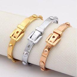 Wholesale vintage 14k gold bangle bracelet - Exquisite New Vintage Design Brand Rivet Stainless Steel Silver 18K Rose Gold Plated Bangles For Women Cuff Bracelets