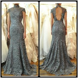 Wholesale Grey Open Back Prom Dress - 2016 Newest Sexy Long Evening Dresses High Neck Open Back Cap Sleeve Grey Mermaid Lace Long Prom Dresses