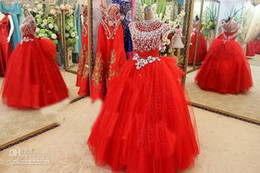 Wholesale Dress Girl Fur - Luxury Christmas Girl Pageant Dresses Cap Sleeve Major Beads Crystals Party Dresses For Girls Tulle Red Flower Girls Dress Real Images