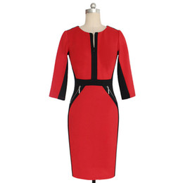 Wholesale Ladies Cotton Office Wears - S5Q Womens OL Office Work Dresses Stretch Bodycon Work Cocktail Lady Slim Pencil Party Mini Dress AAAEBJ