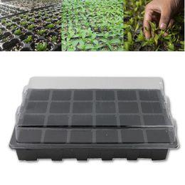 Wholesale Garden Cement - 5Set 24 Holes Seedling Nursery Box Pots Tray With Lid Flower Plants Seedling Planter Garden Farmland Gardening Tools Supplies Black
