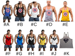 Wholesale Superman Sport Dhl - DHL 2016 superman Captain America Men Tank Top Gym Bodybuilding Fitness Loose Sport Tank Tops Singlets Men Sleeveless T shirt Cotton Vest