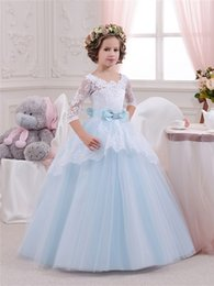 Wholesale Ivory Organza Overlay - Little Girl Dresses Pageant Blue Ball Flower Girl Dress Lace Tulle Lace-up Communion Gowns With 3 4 Long Sleeve Overlay Birthday Gown shj