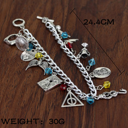 Wholesale Harry Potter Hallows Bracelet - Antique Silver Harry Mixed Bracelets Golden Snitch Deathly Hallows Talking Hat Snake Always Scars Lost Diadem Charms Potter Fashion Jewelry