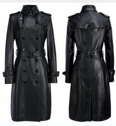 Gabardinas de cuero negro online-2017 Runway Black / Khika / Redwine / Beige 100 Genuino de piel de cordero para mujer Trench Coat Botones de doble boton y cinturón