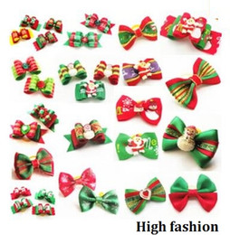 Wholesale Dog Hair Bow Supplies - 50pcs Factory Sale Christmas Pet Dog Hair Bows bowknot hairpin head flower Pet Supplies Grooming Holiday Dog Accessories P8