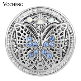 Wholesale Wholesale Blue Butterflies - VOCHENG Noosa Vintage Butterfly Metal Snap Button 18mm Snap Button 2 Colors Ginger Snap Jewelry (Vn-577)