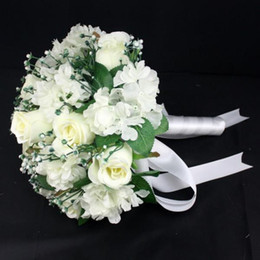 Wholesale Silk Rose Bouquets Weddings - White Pink blue Ivory Romantic Artificial Silk Rose Table Decoration Flower with Leaf Berry Pearl Bridal Wedding Bouquet
