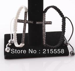 Wholesale Honesty Bracelets Crystal - Wholesale-2015 Free Shipping Fashion Curved Sideways Cross Bracelet Honesty Rhinestone Crystal Shamballa Bracelet