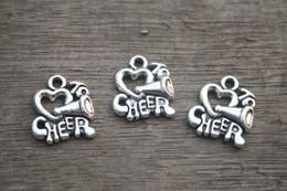 Wholesale Cheerleading Wholesalers - 20pcs--I love to cheer charms, Cheerleader Megaphone Charm pendants, Cheer, Cheerleading 16x14mm11