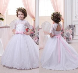 Wholesale Girl High Collar White Shirt - 2016 New Lovely High Neck Half Sleeved Lace Ball Gown Flower Girls Dresses 2016 Tulle Floor Length Girls Pageant Gowns for Party BA1490