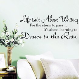 Wholesale Dance Rain Decal - world popular quote Life is not About Waiting Dance In Rain Characters Writing Vinyl PVC Decal Wall Sticker Mural Home Decor