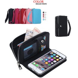 Wholesale Flip Phone Holder - Luxury PU Flip Leather Cell Phone Wallet Cover Zipper Case Card Slot Photo Frame Holder Pouch Clutch for Iphone Samsung DHL FREE
