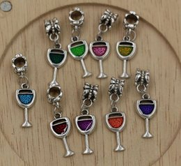 Wholesale Wholesale European Dangle Charms - Hot ! 9-color Enamel Wine Glass Goblet Drink Dangle Charm Bead fit European Bracelets 32 x 9mm (Z211)