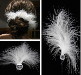 Wholesale Trendy Ornaments - The bride wedding hair accessories sell like hot cakes White feather hair U hairpin crystal ornaments