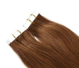 Argentina Extensiones de cabello humano de cinta de poliuretano Extensiones de cabello marrón mediano a rubio Trama de doble cara rusa piel de trama Suministro