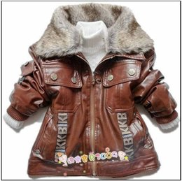 Wholesale Kids Leather Jackets Lining - Winter children Outerwear Boys Faux Leather with Faux Fur Collar Baby Kids Spring Outwear Jackets coat Boy Winter Jacket coat