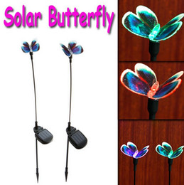 Wholesale Outdoor Solar Light Sets - 2 X Solar Lamps Solar Powered Butterfly Color Changing Outdoor Garden Stake Light Set Freeshipping