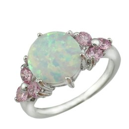 Wholesale fire horn - Wholesale- HAIMIS Drop Ship New Arrival White Fire Opal Pink Stone Fashion Jewelry Women Silver Plated Opal Rings Size 6 7 8 9 OR846