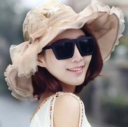Wholesale Ruffled Brim - Wholesale-Hot Sale ! 2015 Brand Fashion Ladies Summer Hat Foldable Sun Hats With Ruffles Bow,Wide Brim Sun Hats For Women 4 Color