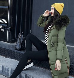 Wholesale Women Warm Winter Clothing - Army green classic warm down cotton winter new thickening down jacket female long section big fur collar Slim padded knee down clothing