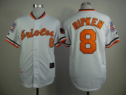 Wholesale Sportswears Men - Orioles #8 Ripken Baseball Jerseys Throwback With Hall Of Fame In 1970 Mens White Jerseys Cheap Sportswears New Style Baseball Wear